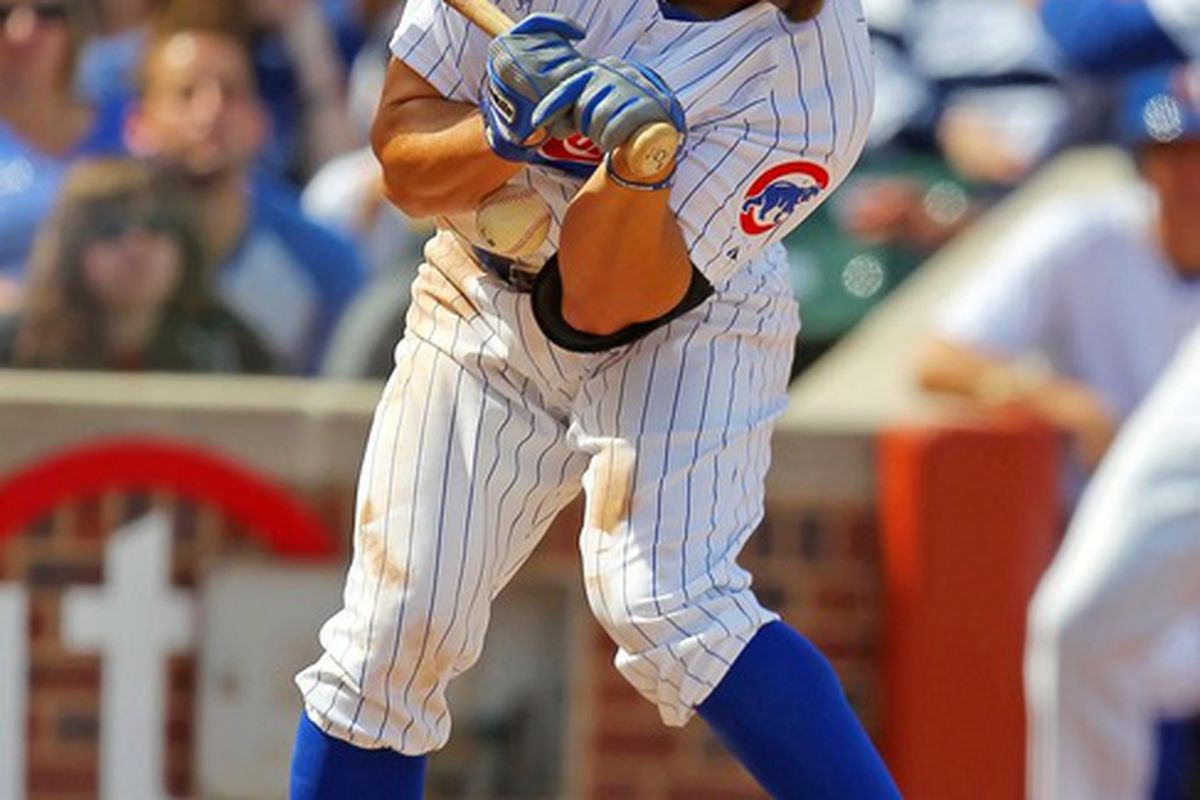 Chicago, IL, USA; Chicago Cubs right fielder Reed Johnson is hit by a pitch during the sixth inning against the Washington Nationals at Wrigley Field. Credit: Dennis Wierzbicki-US PRESSWIRE