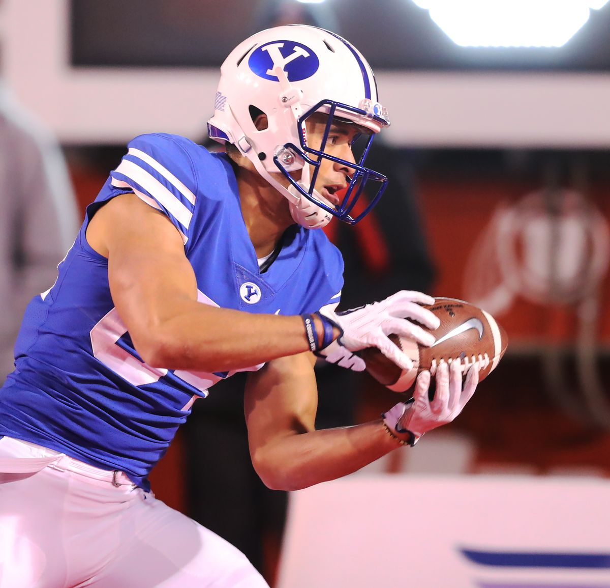 BYU wide receiver Neil Pau'u (84) makes a catch going out of the end zone for a score as BYU and Utah play at Rice-Eccles Stadium in Salt Lake City on Saturday, Nov. 24, 2018.