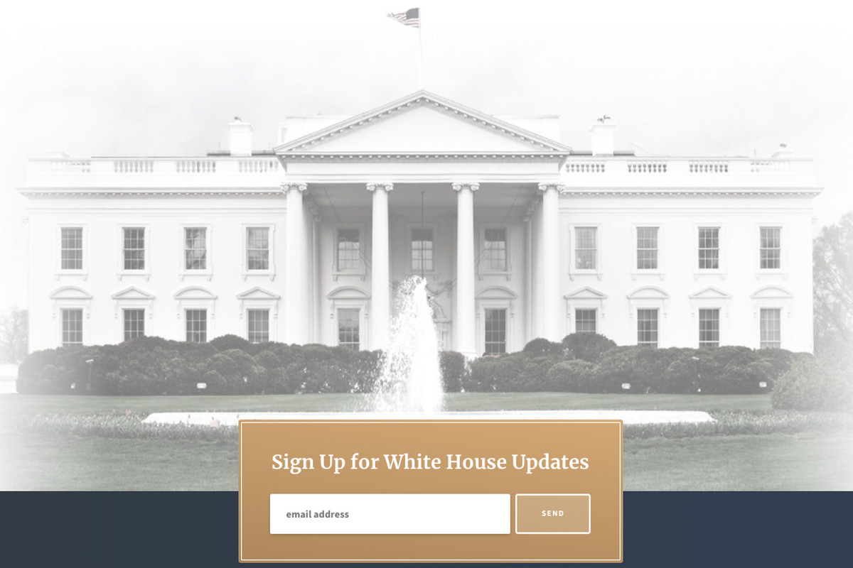 Trump White House website screenshot