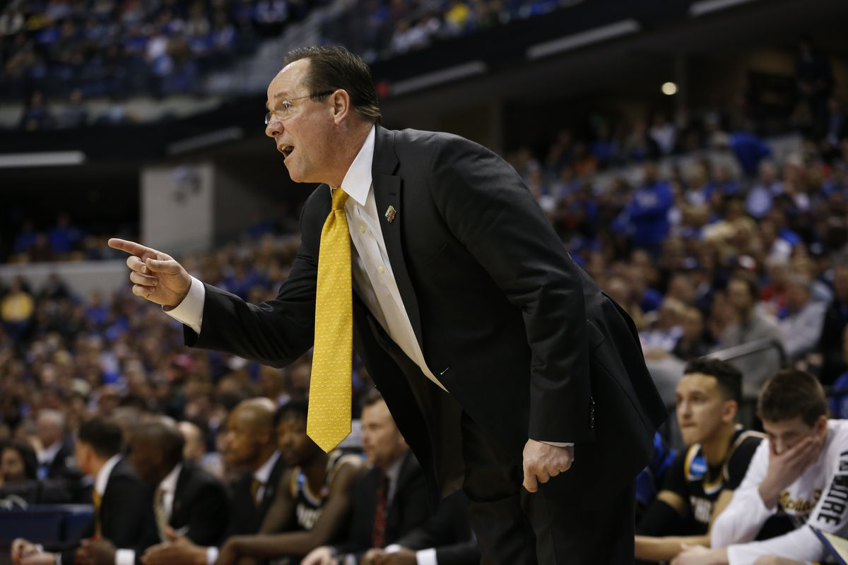 Head coach Gregg Marshall of Wichita State yells while playing the University of Kentucky during the 2017 NCAA Photos via Getty Images Men's Basketball Tournament held at Bankers Life Fieldhouse on March 19, 2017 in Indianapolis, Indiana.