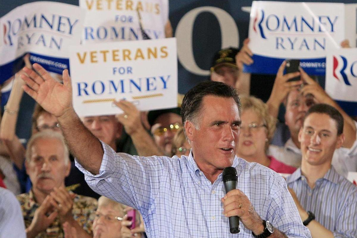 Republican presidential candidate, former Massachusetts Gov. Mitt Romney speaks during a victory rally, Saturday, Sept. 1, 2012, at Union Terminal in Cincinnati.