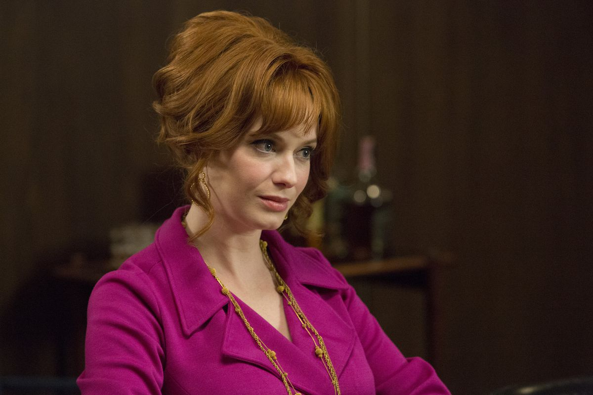 Joan (Christina Hendricks) has a horrible conversation in the final Mad Men premiere.