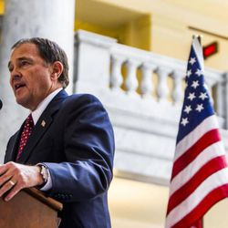 FILE - Gov. Gary Herbert shares his support during a rally to encourage the defunding of Planned Parenthood at the state Capitol in Salt Lake City on Wednesday, Aug. 19, 2015. In keeping with his efforts to plan for Utah's future, Herbert proposed a $14.8 billion state budget Wednesday that would infuse education, water resources and air quality with new money.