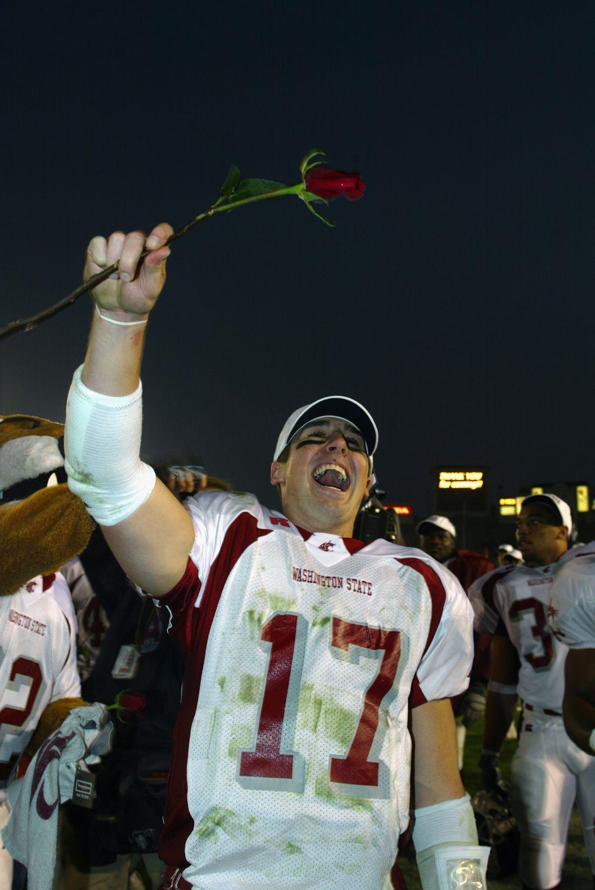 Jason Gesser holds a rose