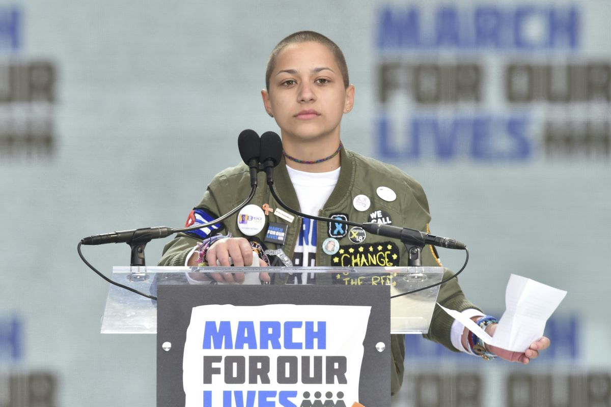 Marjory Stoneman Douglas High School student Emma Gonzalez pauses during the March for Our Lives Rally in Washington, D.C., on March 24, 2018.
