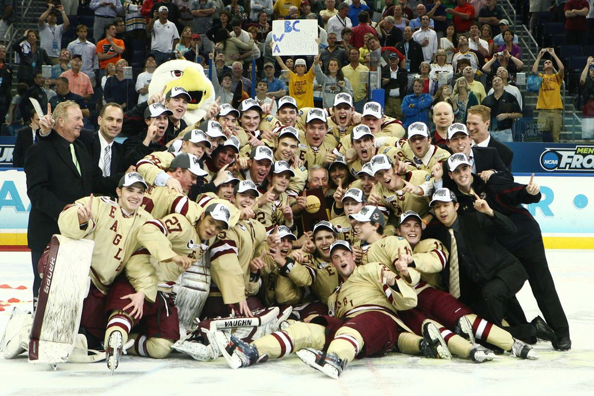 Apr 7, 2012; Tampa, FL, USA; The Boston College Eagles celebrate after defeating the Ferris State Bulldogs 4-1 in the finals of the 2012 Frozen Four at Tampa Bay Times Forum. Mandatory Credit: Douglas Jones-US PRESSWIRE
