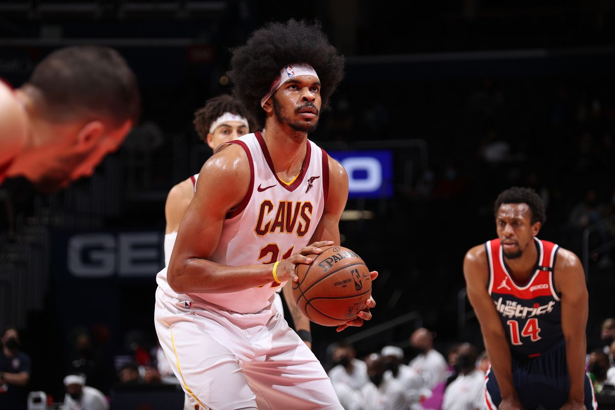 Jarrett Allen #31 of the Cleveland Cavaliers shoots a free throw during the game against the Washington Wizards on May 14, 2021 at Capital One Arena in Washington, DC.