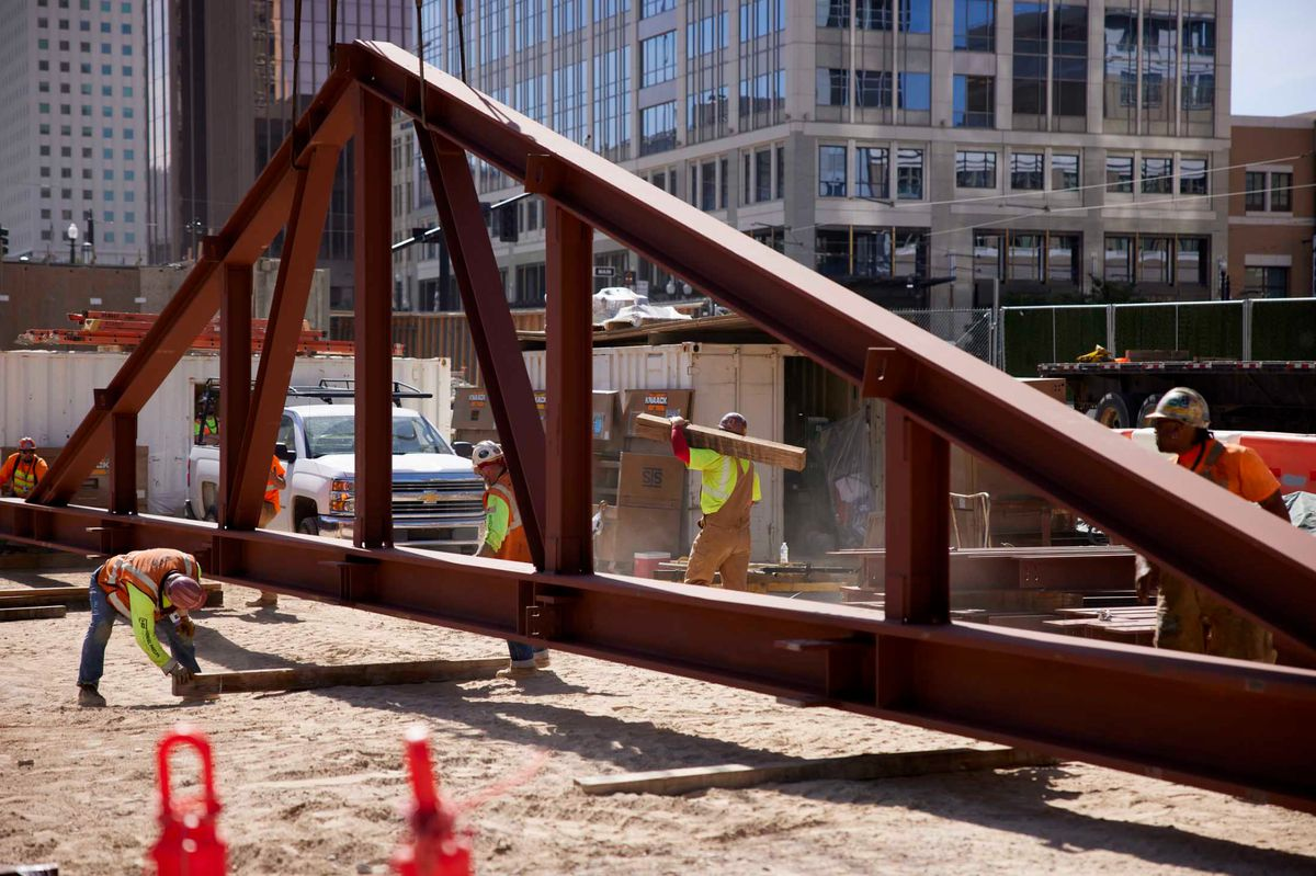 Crews prepare to place a new truss on the Salt Lake Temple.