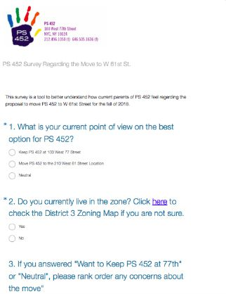 A survey about the proposed P.S. 452 move that featured the school's logo was sent to parents.