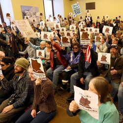 Supporters of a potential Bears Ears national monument attend a rally at the Capitol in Salt Lake City on Monday, Dec. 19, 2016. President Barack Obama declared a Bears Ears National Monument for Utah on Wednesday, Dec. 28, 2016.