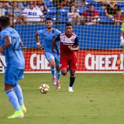 Bryan Acosta (8) dribbles the ball up field in the first half of the MLS match against New York City FC.