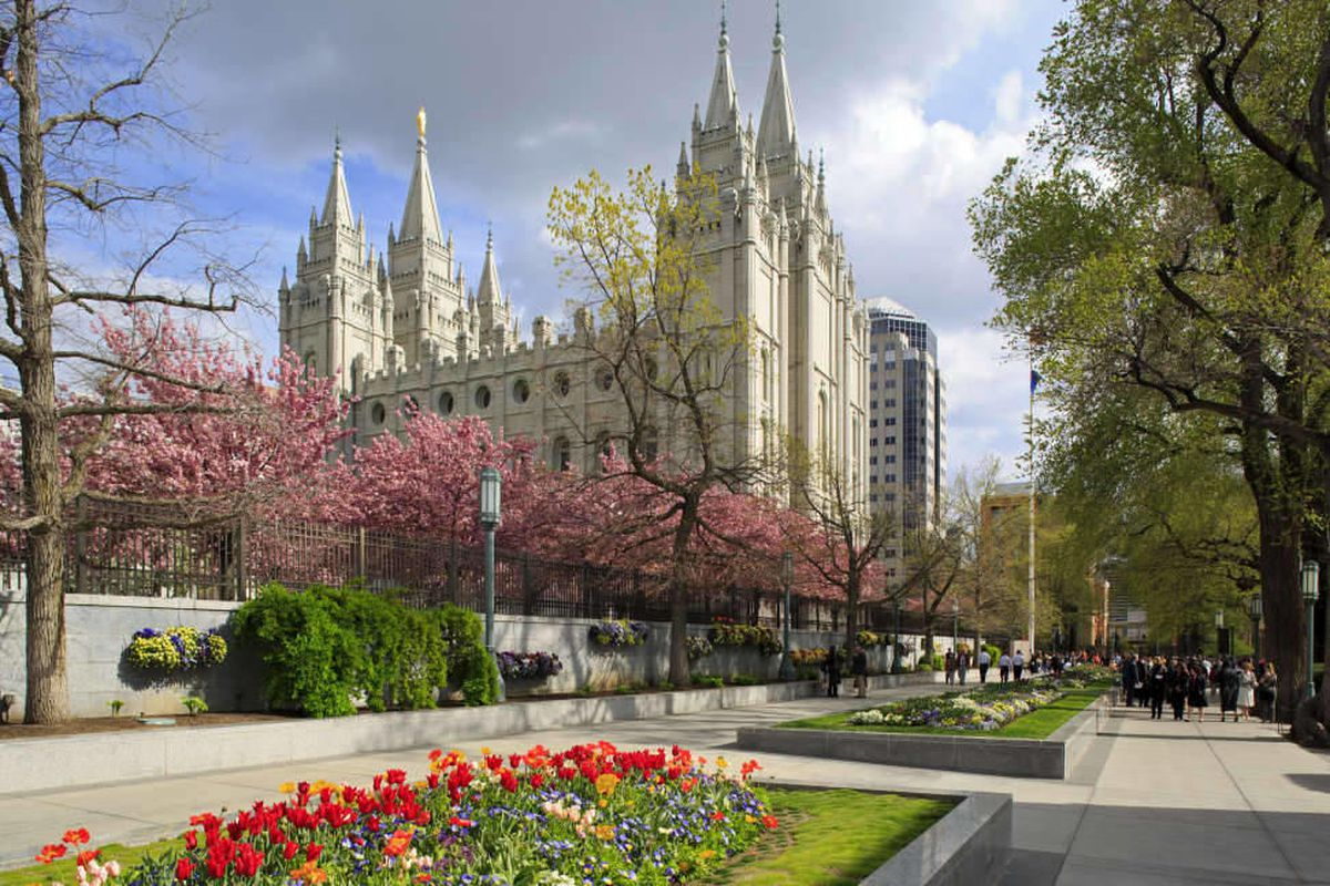 This springtime view looks southeast at the Salt Lake LDS Temple with the annual display of springtime blossoms on Temple Square.
