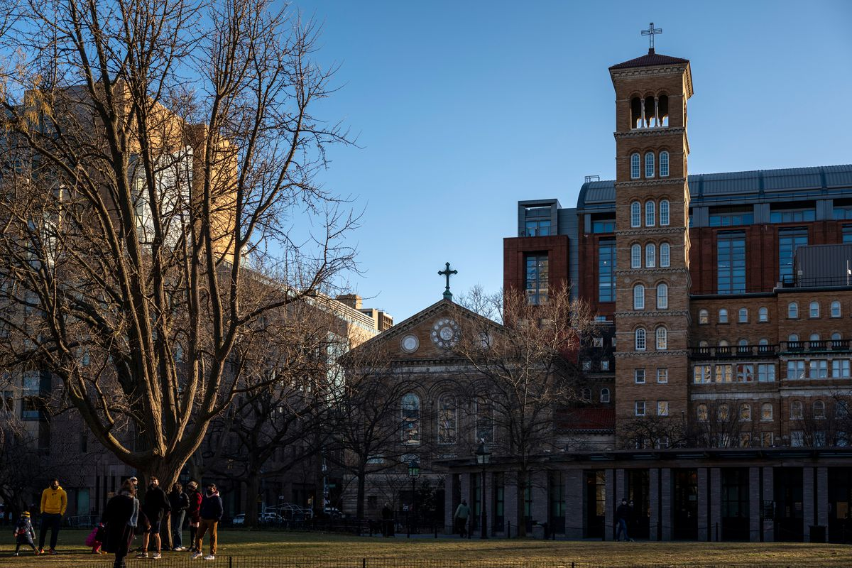 The historic Judson Memorial Church sits on prime real estate overlooking Washington Square Park, March 19, 2021.