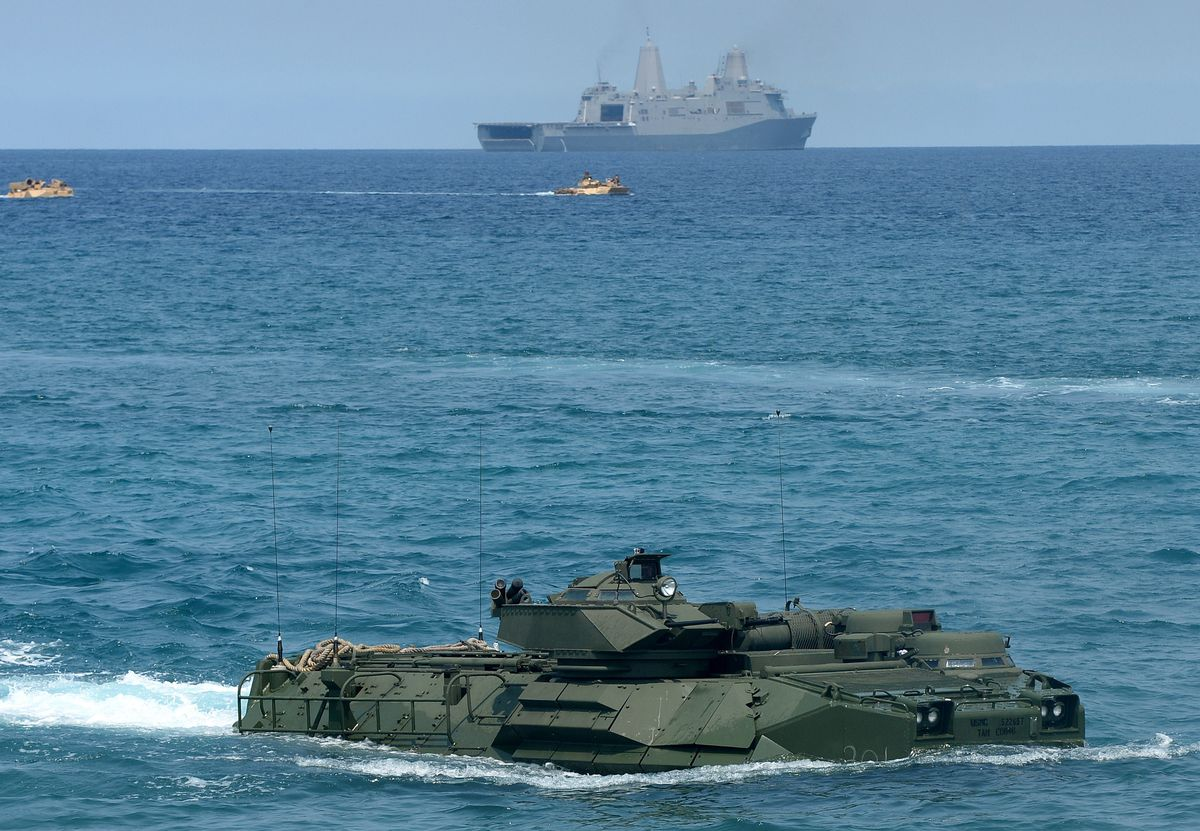 US and Philippine forces conduct military exercises near the South China Sea (TED ALJIBE/AFP/Getty)