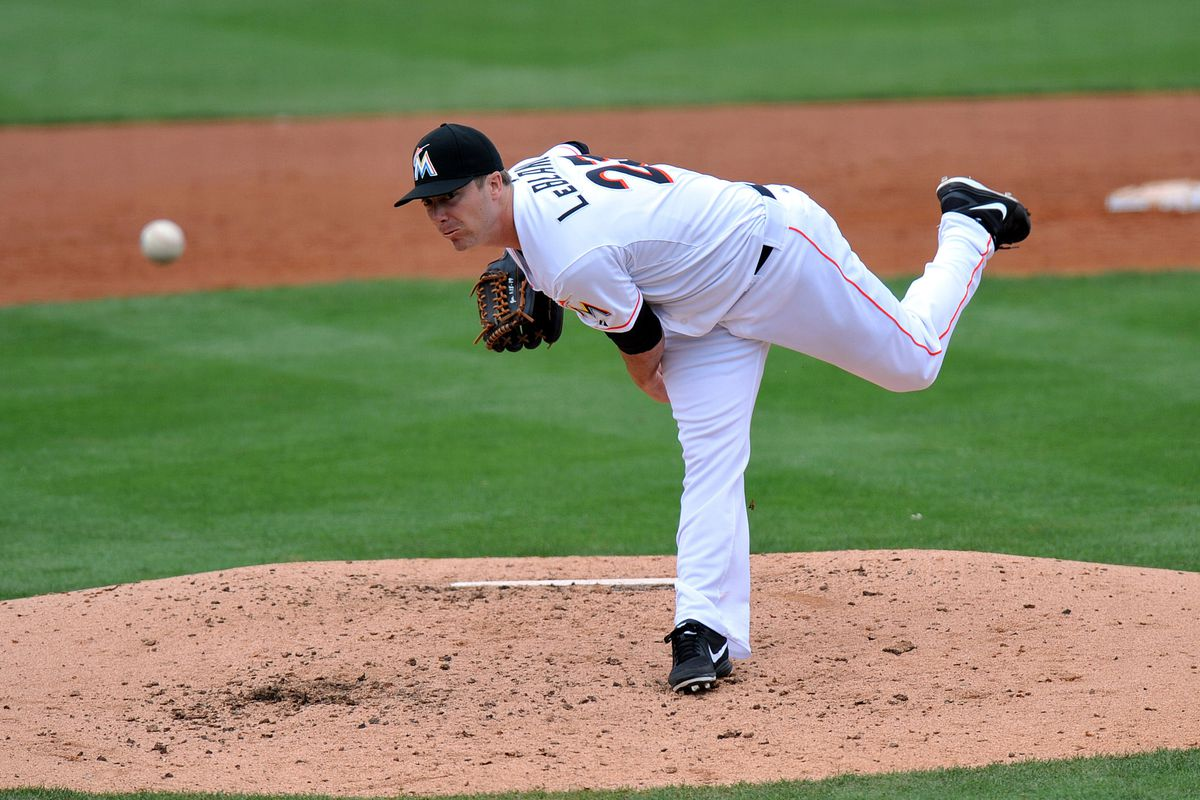 Future former Twin Wade LeBlanc throws a pitch against his future former team.