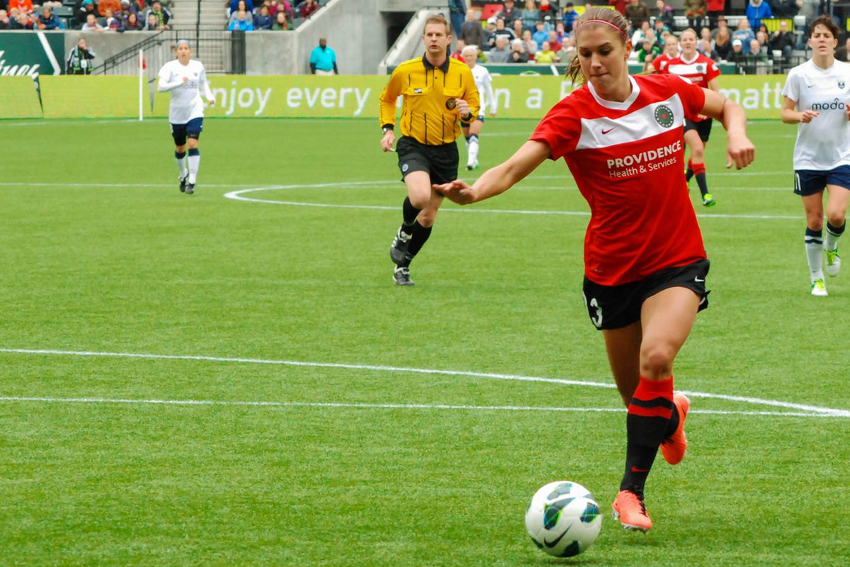 Alex Morgan, just before scoring in the second half.