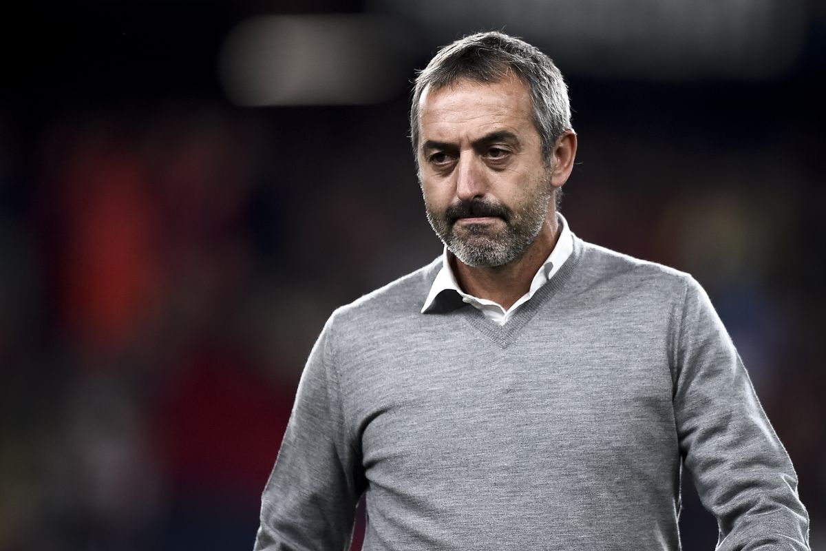 Marco Giampaolo, head coach of AC Milan, looks on prior to...