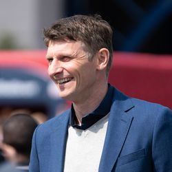 FOXBOROUGH, MA - MARCH 30: Former Chelsea FC forward Tore André Flo promoting the May 15th match at Gillette Stadium prior to the New England Revolution game at Gillette Stadium on March 30, 2019 in Foxborough, Massachusetts. (Photo by J. Alexander Dolan - The Bent Musket)