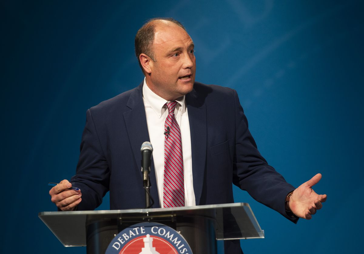 Former Utah Agriculture Commissioner Kerry Gibson speaks during the 1st Congressional District Republican debate at the PBS Utah studios in Salt Lake City on Tuesday, June 2, 2020.