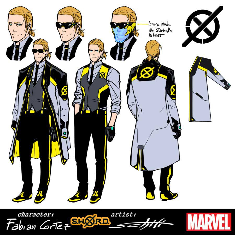 Character designs for Fabian Cortez, featuring a black, yellow, and grey suit and vest, with a large similarly colored overcoat, and asshole sunglasses.