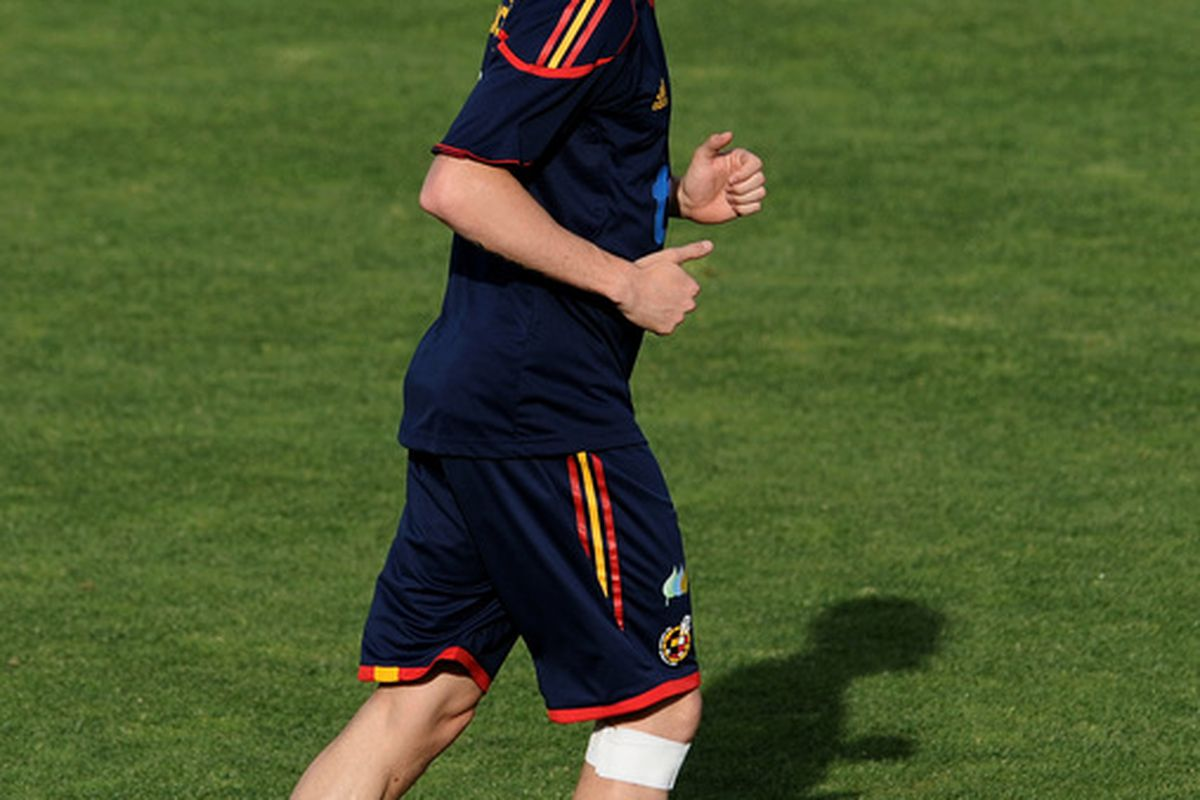 LAS ROZAS DE MADRID, SPAIN - JUNE 06: Fernando Torres of Spain casts his shadow on the pitch during an afternoon training session on June 6, 2010 in Las Rozas de Madrid, Spain.  (Photo by Jasper Juinen/Getty Images)