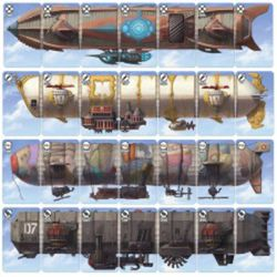 Cards are placed together to build an impressive steam airship.
