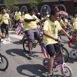 West Town Bikes riding in the 39th Puerto Rican Peoples Parade. | Rick Majewski/For the Sun-Times.