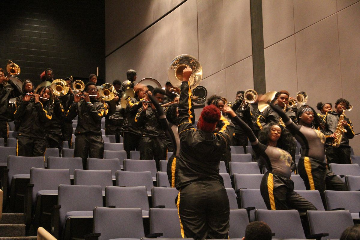The The Marching Astros of Frederick Douglass High School in Atlanta performing at the Bankhead Seafood press conference event February 27, 2020