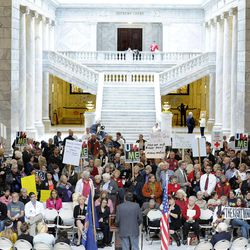 Utahns for the Medicaid Expansion rallies in the rotunda at the state Capitol on Wednesday, Nov. 20, 2013, in Salt Lake City. The group rallied to show Gov. Gary Herbert he has support if he decides to expand Medicaid.