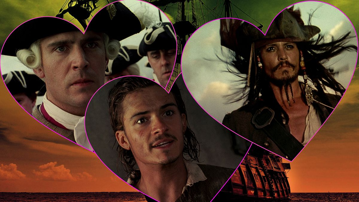 Three characters from the movie Pirates of the Caribbean in heart shapes over a background of a pirate ship at sea.