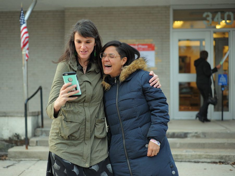 33rd Ward candidate Rossana Rodriguez Sanchez takes a selfie with one of her supporters after voting at the American Indian Center. File Photo. | Victor Hilitski/For the Sun-Times