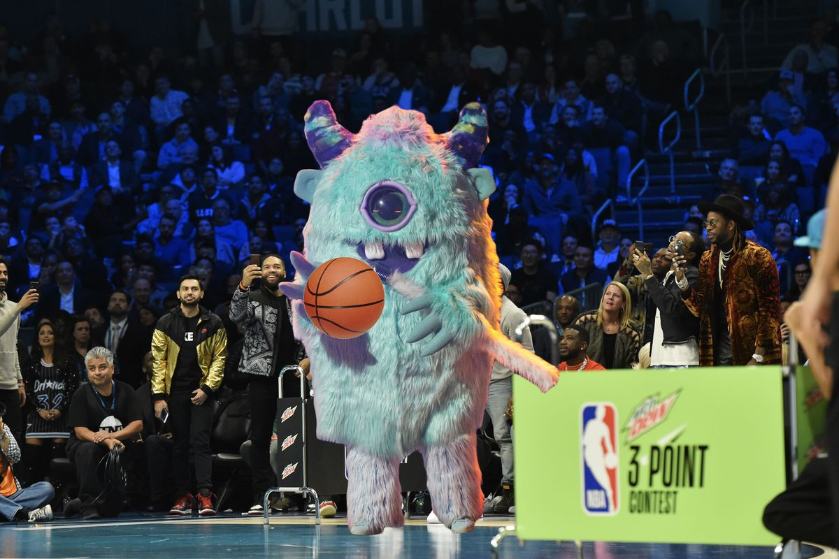 Monster dribbling a basketball in the 3-point contest