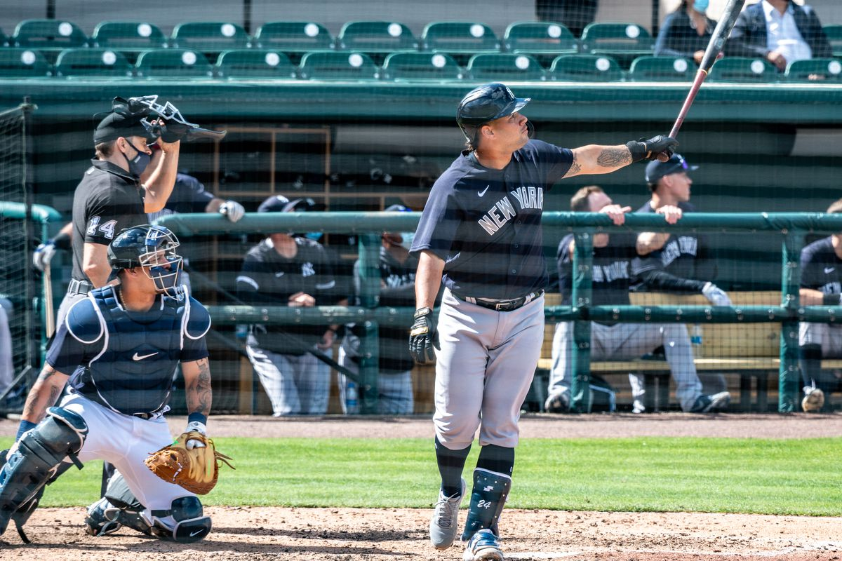New York Yankees' Gary Sanchez homers against the Detroit Tigers in spring training game