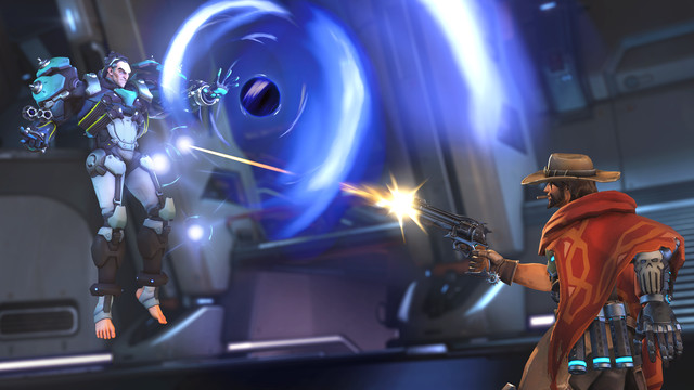 Overwatch - McCree and Sigma face off in a one versus one battle. Sigma is absorbing a shot from McCree's Peacekeeper.