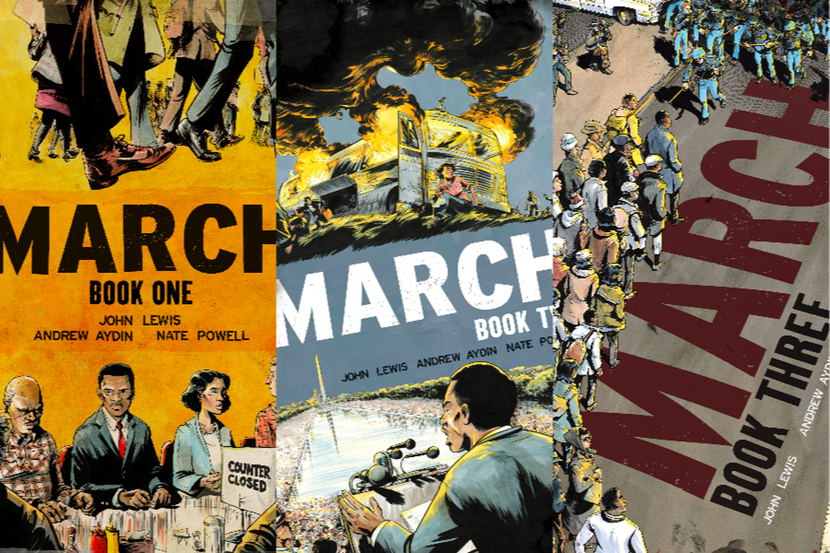 John lewiss graphic memoir trilogy march tells the story of a march by john lewis andrew aydin and nate powell top shelf productions gumiabroncs Image collections