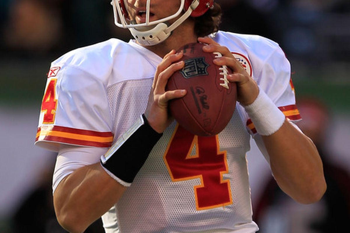 EAST RUTHERFORD, NJ - DECEMBER 11:  Tyler Palko #4 of the Kansas City Chiefs throws against the New York Jets at MetLife Stadium on December 11, 2011 in East Rutherford, New Jersey.  (Photo by Chris Trotman/Getty Images)