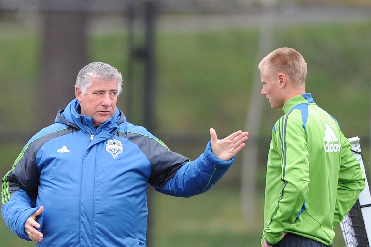 """Sigi Schmid With Andy Rose Early In Preseason (Courtesy of Chris Coulter / <a href=""""http://www.SoundersPhotos.com"""" target=""""new"""">Sounders Photos</a>)"""