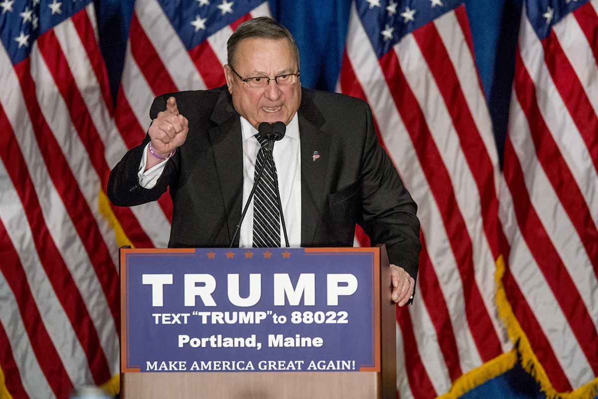 Maine Gov. Paul LePage at a Donald Trump rally.