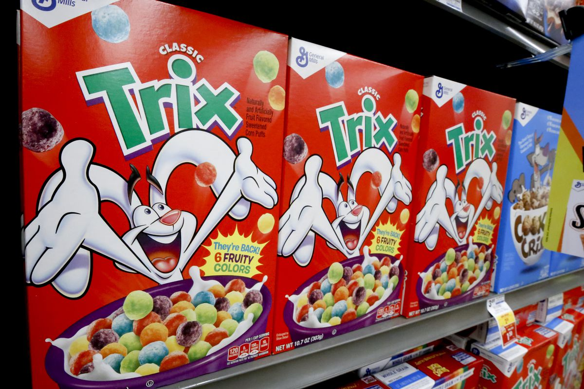 Boxes of General Mills Trix cereal sit on display in a market in Pittsburgh.