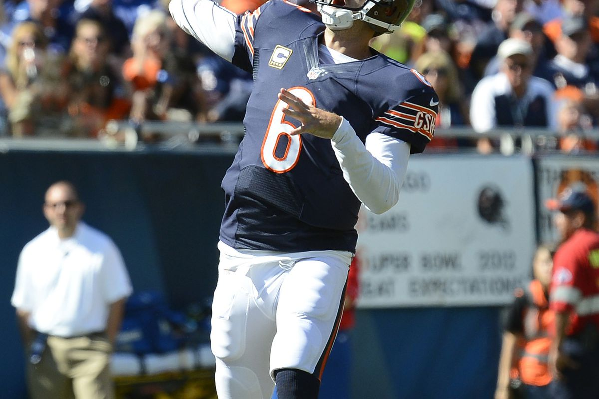 Sep 09, 2012; Chicago, IL, USA; Chicago Bears quarterback Jay Cutler (6) makes a throw against the Indianapolis Colts during the fourth quarter at Soldier Field. Chicago defeats Indianapolis 41-21. Mandatory Credit: Mike DiNovo-US PRESSWIRE