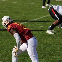 Hakeem Butler (18) waiting for the next play.