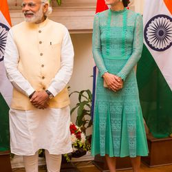 Kate Middleton in a Temperley London dress, an L.K.Bennett clutch and shoes, and Kiki McDonough earrings while meeting India's Prime Minister Narendra Modi.