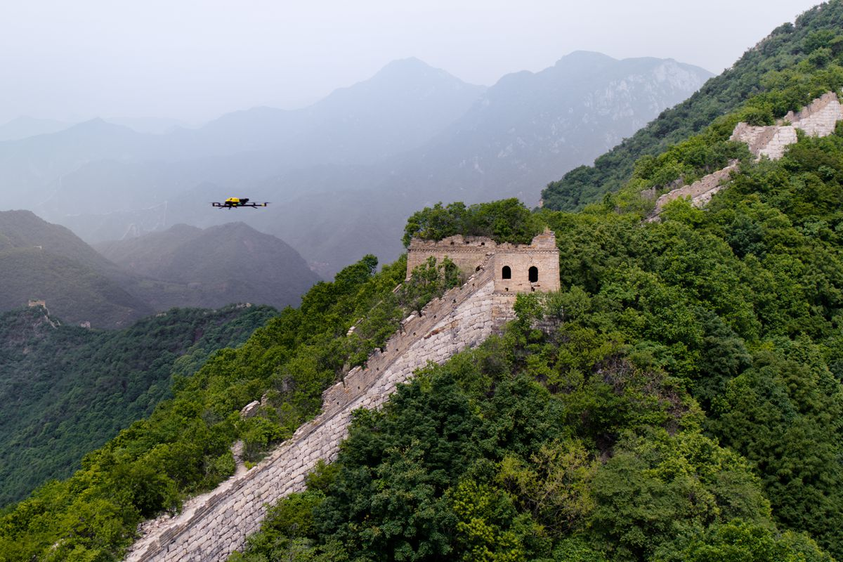 drone fly over the Great Wall of China