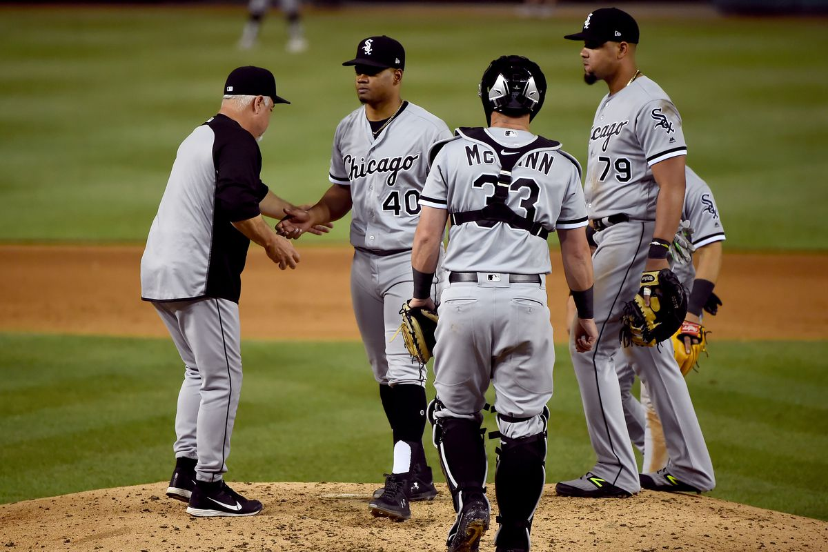 Reynaldo Lopez is pulled by manager Rick Renteria in the fifth inning.