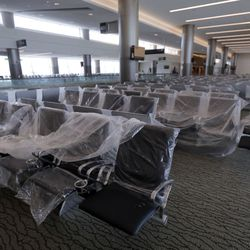 New chairs are ready to be installed as construction of the new Salt Lake International Airport continues in Salt Lake City on Friday, May 22, 2020.