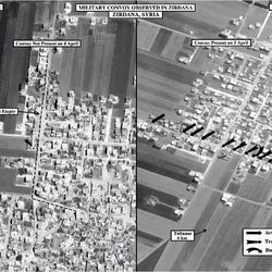 This satellite image posted on the U.S. Embassy Damascus Facebook page Saturday, April 7, 2012, shows the presence of a military convoy in Zirdana, Syria on April 5, right, next to imagery of the same area on April 4, showing no military convoy, according to information shown on the U.S. Embassy Damascus Facebook page. Syrian government shelling and offensives against rebel-held towns killed dozens of civilians across the country on Saturday, activists said, as the U.S. posted online satellite images of troop deployments that cast further doubt on whether the regime intends to comply with an internationally sponsored peace plan.