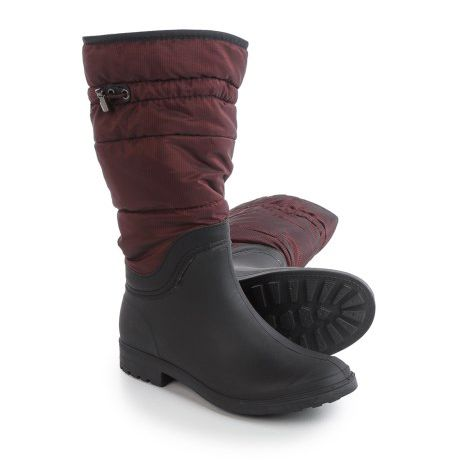 Maroon and black snow boots