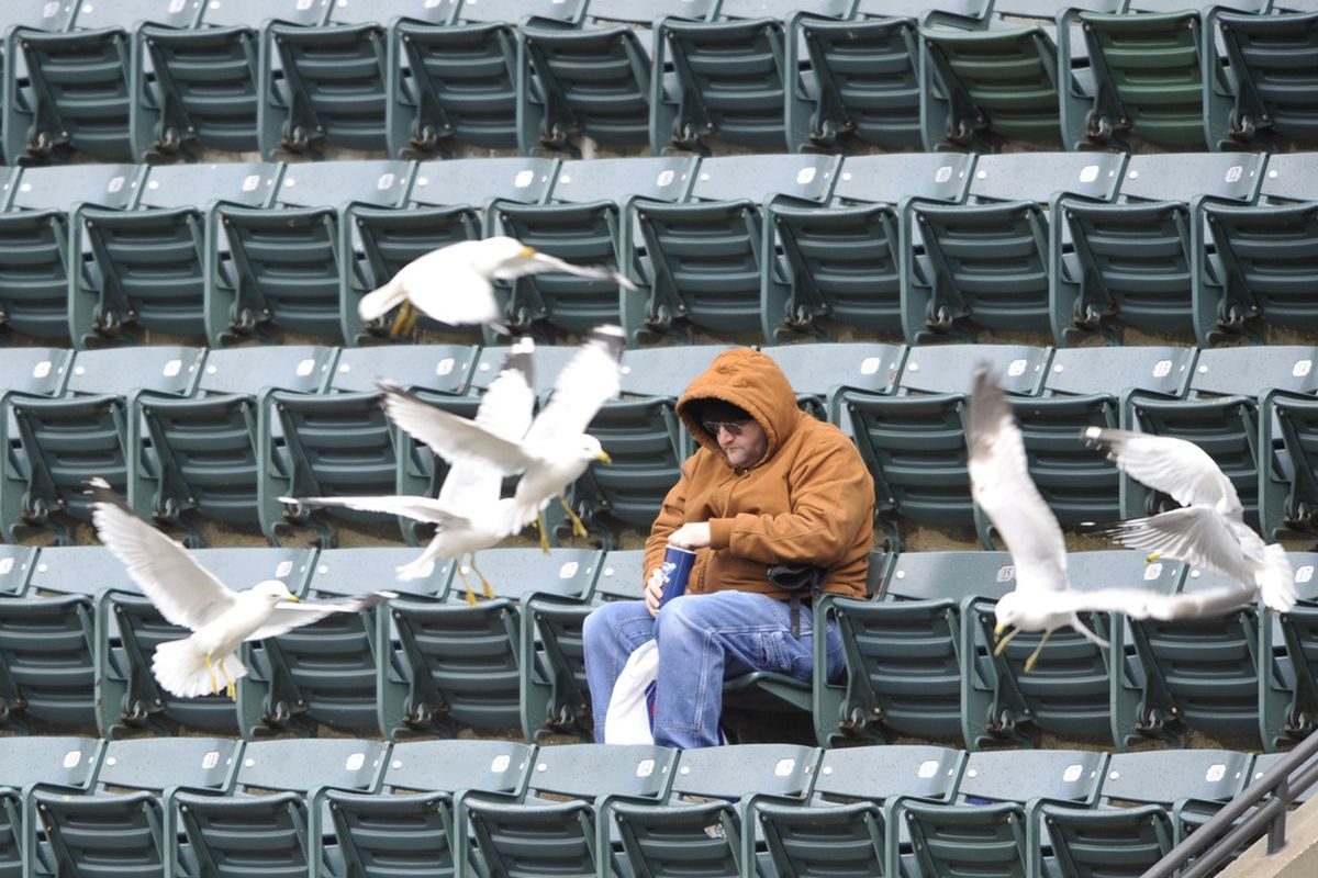 Apr 28, 2012; Cleveland, OH, USA; A fan sits in the stands at Progressive Field as seagulls fly over the seats in the fifth inning of a game against the Los Angeles Angels. Mandatory Credit: David Richard-US PRESSWIRE