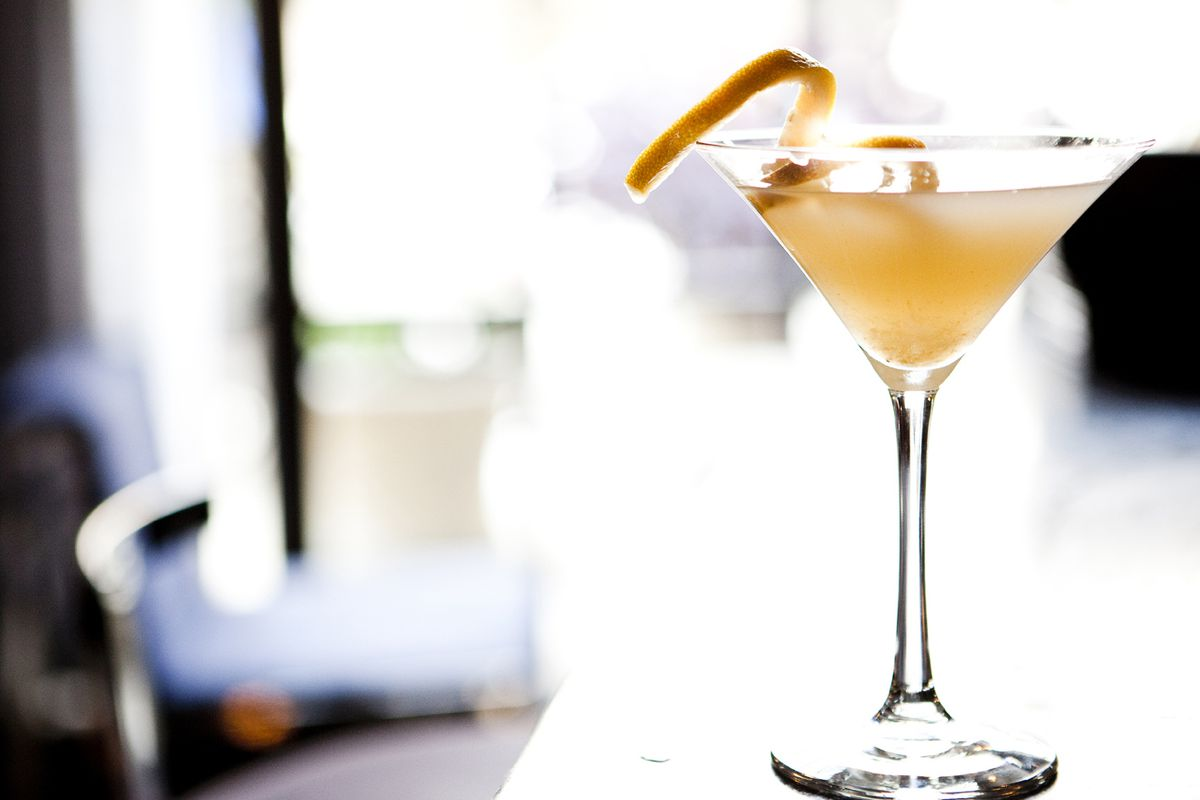 The Climbin' High with rum, Kappa pisco, raspberry, pineapple, lime juice and Champagne at Skyfall Lounge.