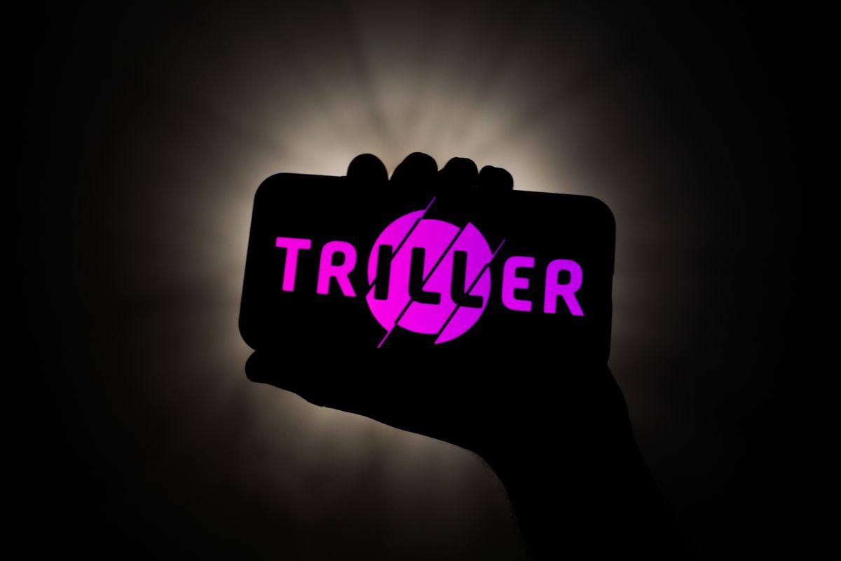 Triller logo is seen displayed on a phone screen in this illustration photo taken on October 10, 2020.
